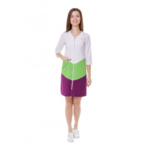 Медицинский халат женский Прага белый-лайм-фиолетовый