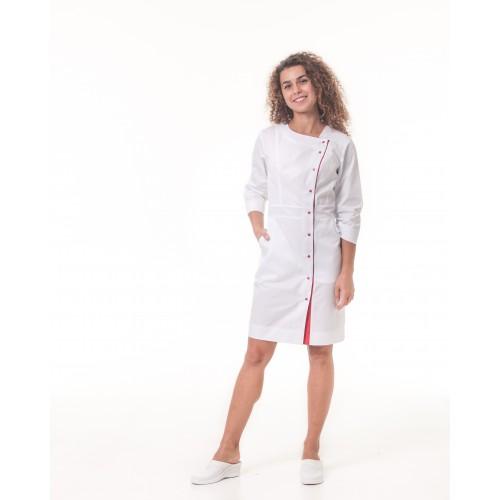 Медицинский халат Париж Белый-красный