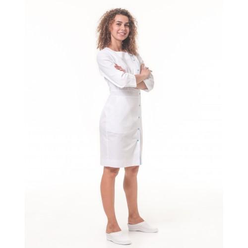 Медицинский халат Париж Белый-небесный