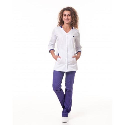 Медицинский костюм Анталия 3/4 Белый-фиолетовый