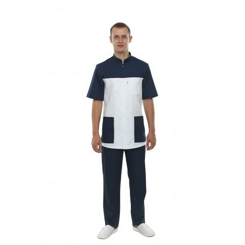 Медицинский костюм Берлин Белый-темно/синий