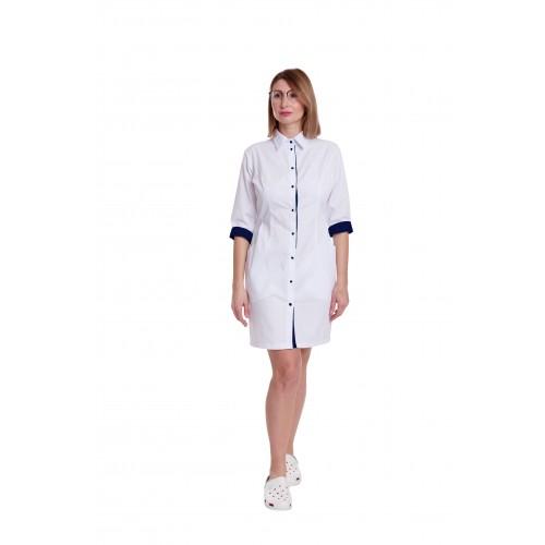 Медицинский халат женский Филадельфия белый/синий №633085