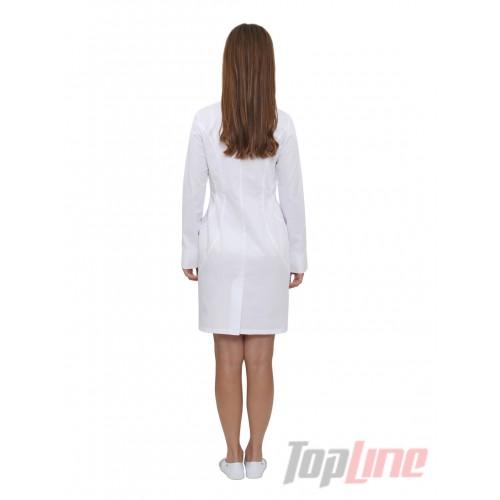 Медицинский халат женский Филадельфия длинный рукав Белый