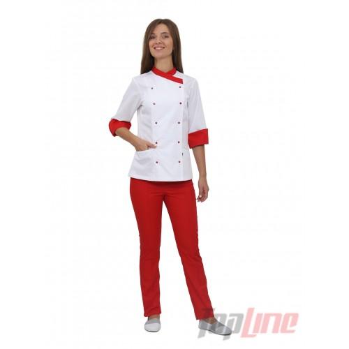 Поварской костюм женский Бордо 2 белый/красный №4