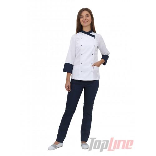 Поварской костюм женский Бордо 2 белый/синий №5
