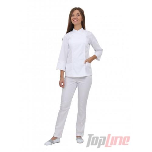 Поварской костюм женский Бордо 2 белый №3