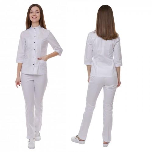 Медицинский костюм Амстердам белый/белый синяя кнопка №1111
