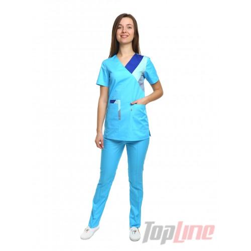 Медицинский костюм женский Рио голубой/комби №1068