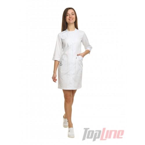 Медицинский халат женский Монтана белый/вышивка кот с пауком №81