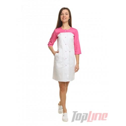 Медицинский халат женский Севилья белый/розовый №101