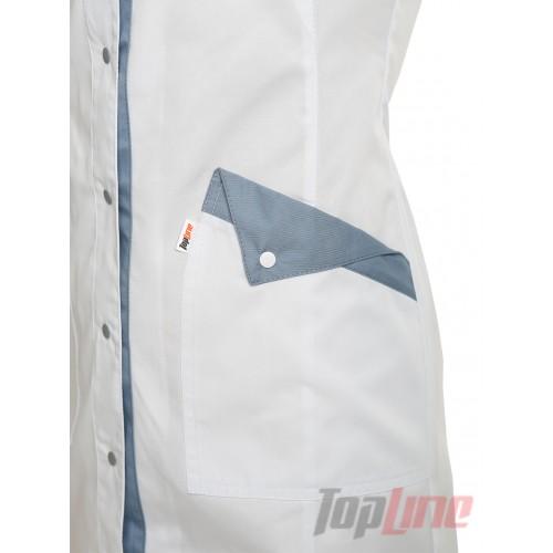 Медицинский халат женский Монтана белый/светло серый №84
