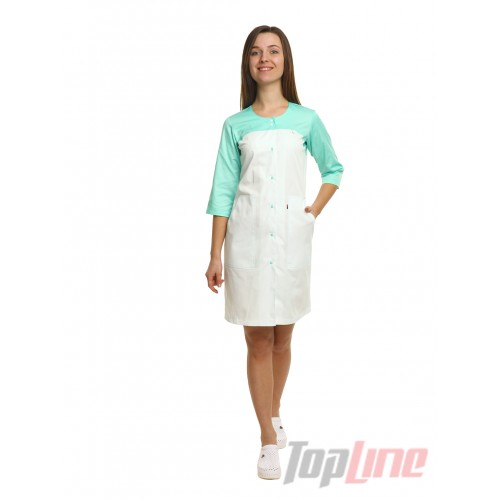 Медицинский халат женский Севилья белый/мятный