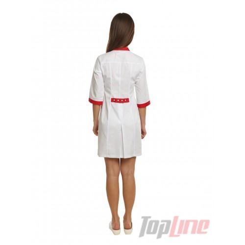 Медицинский халат женский Монтана белый/красный №86