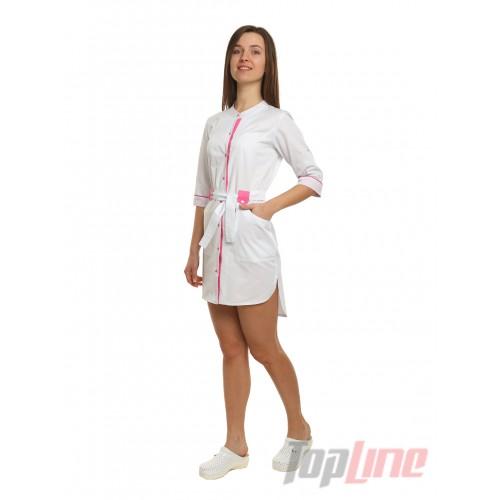 Медицинский халат женский Дели белый/розовый №99