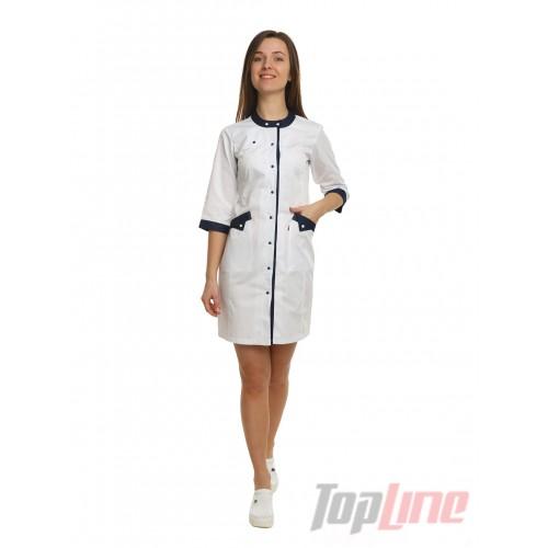 Медицинский халат женский Монтана белый/синий №100
