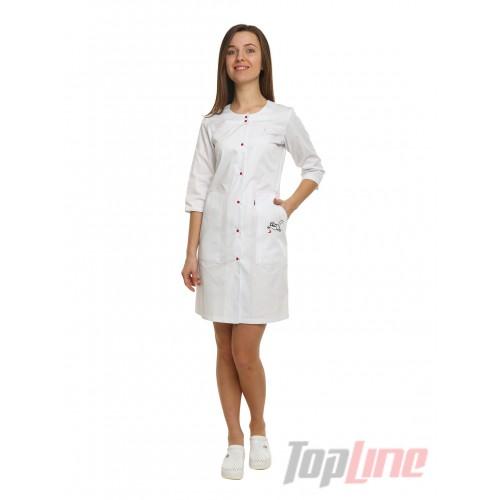 Медицинский халат Севилья с вышивкой Белый/кот/красный