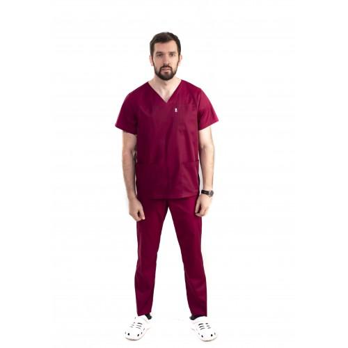Медицинский костюм Мадрид Бордовый