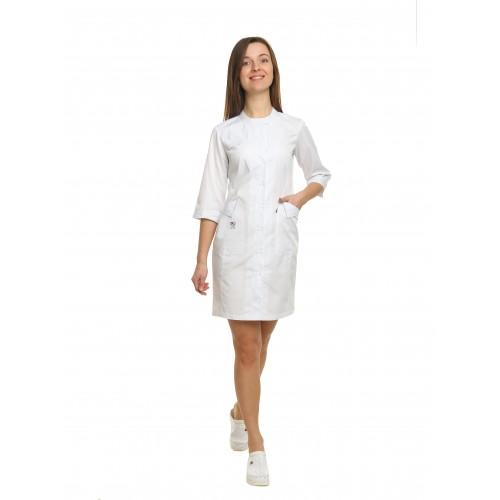 Медицинский халат женский Монтана белый/вышивка зубик №101