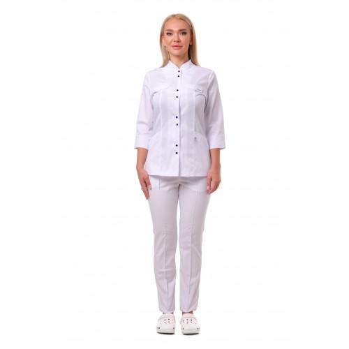 Медицинский костюм Пекин женский комбинированный белый с белым, кнопка темно синяя №633061