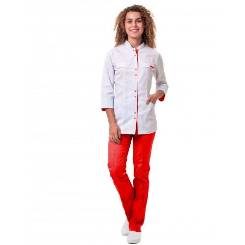 Медицинский костюм Пекин женский комбинированный белый с красным