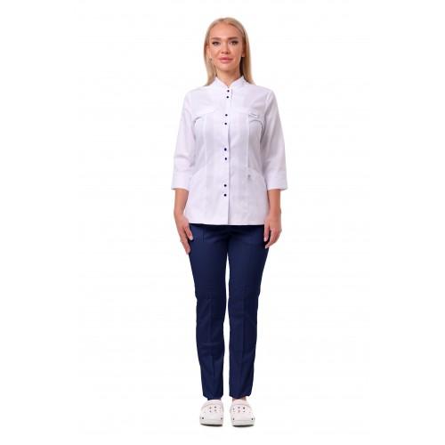 Медицинский костюм Пекин белый/синий №633060