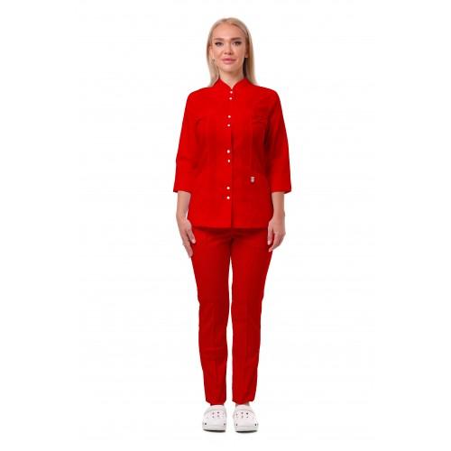 Медицинский костюм Пекин женский комбинированный красный с красным №633064