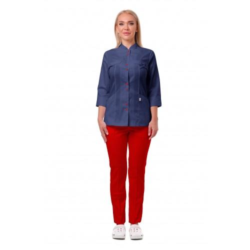Медицинский костюм Пекин темно синий/красный №633066