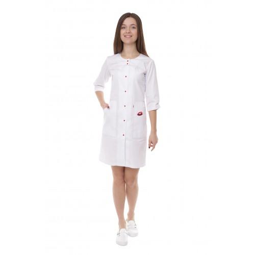 Медицинский халат женский Севилья белый/красная строчка/вышивка губы № 91118