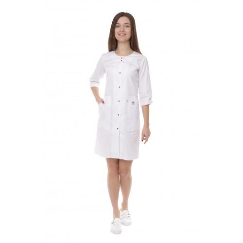 Медицинский халат женский Севилья Белый/красная строчка/вышивка зубик