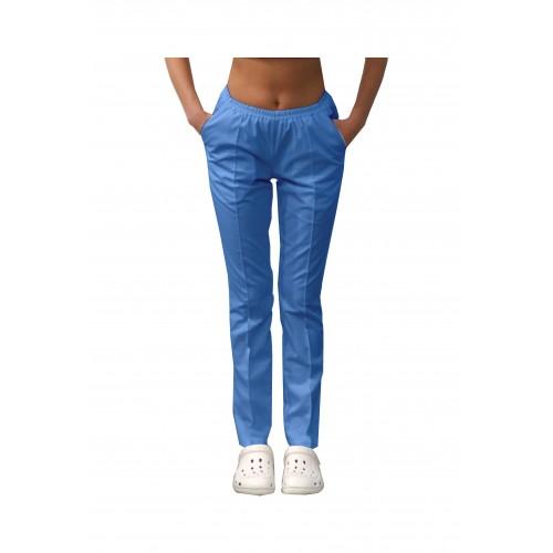 Медицинские штаны с карманами женские Голубой