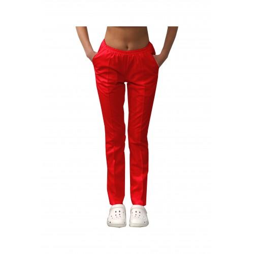 Медицинские штаны с карманами женские Красный