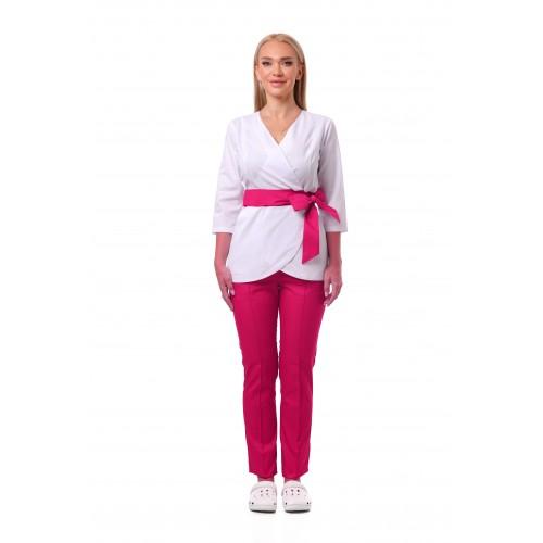 Медицинский костюм Токио белый/малиновый №633069