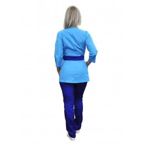 Медицинский костюм Токио голубой/электрик №633071