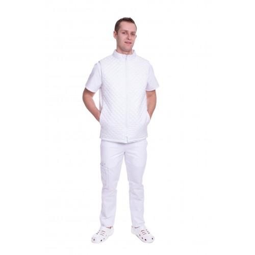 Медицинский жилет Юкон 2 (стойка) стеганый Белый