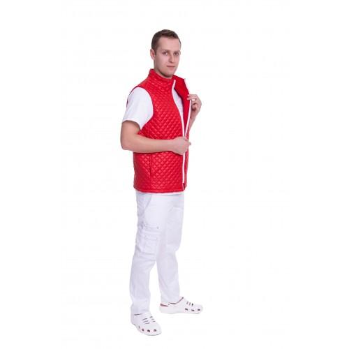 Медицинский жилет Юкон 2 (стойка) стеганый Красный