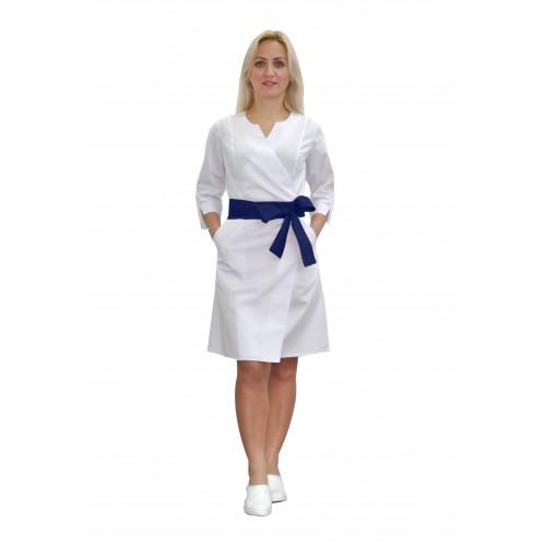 Медицинский халат женский Верона белый/синий №633079