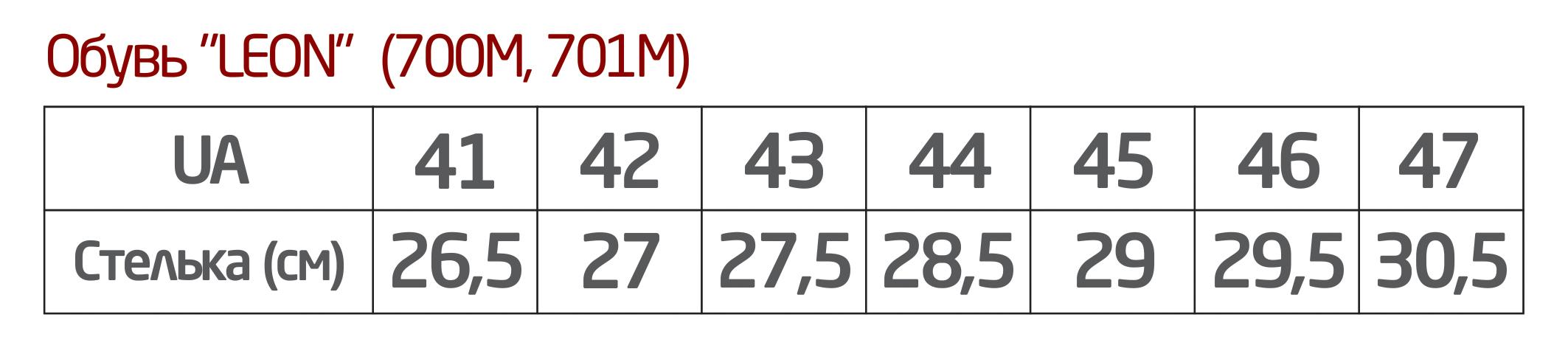 Таблица размеров обувь Леон3